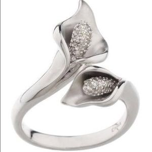 Jewelry - (10)Calla Lily Affinity pave diamond 925 ring NWOT
